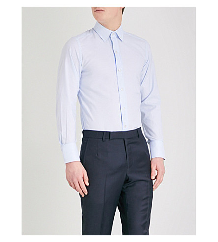 TOM FORD Houndstooth-pattern slim-fit cotton-crepe shirt (Blue
