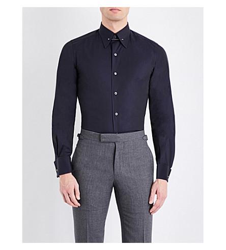 TOM FORD Regular-fit metal collar bar cotton shirt (Navy