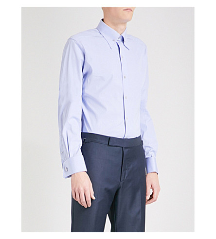 TOM FORD Slim-fit cotton shirt (Lt+blue