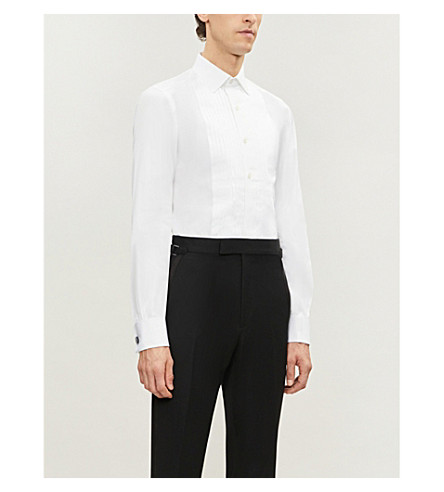 TOM FORD Slim-fit cotton evening shirt (White