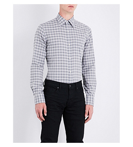 TOM FORD Checked regular-fit cotton shirt (Mid+grey