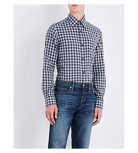TOM FORD Checked regular-fit cotton shirt (Dk+navy