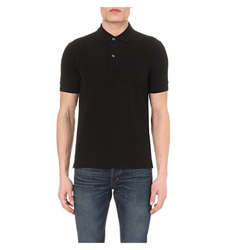 TOM FORD Short-sleeved cotton-piqué polo shirt (Black
