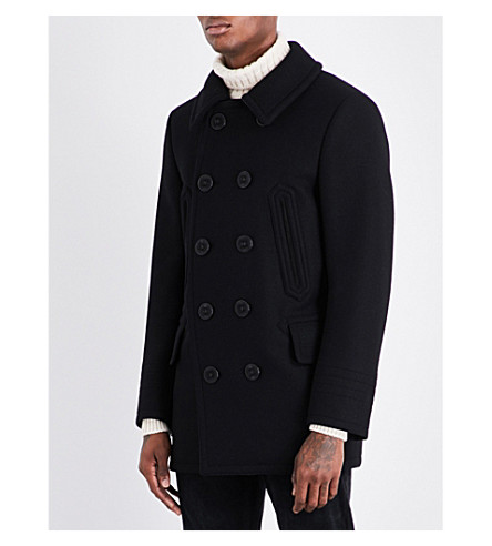 TOM FORD Double-breasted wool-blend peacoat (Black