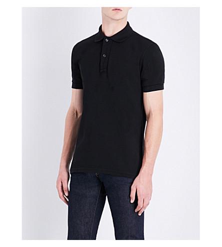 TOM FORD Short-sleeved cotton-piqué polo shirt (Black