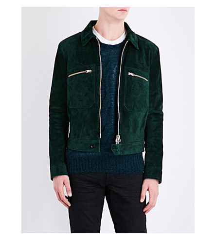 TOM FORD Zipper-detail suede bomber jacket (Emerald+green