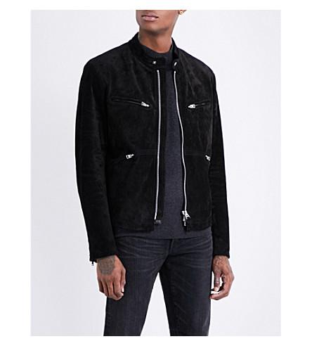 TOM FORD Moto suede bomber jacket (Black