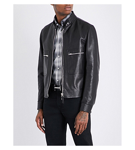 TOM FORD Pocket-detailed leather jacket (Black