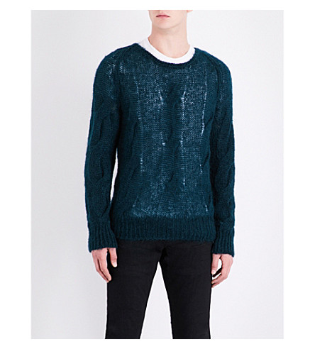 TOM FORD Cable-knit mohair and silk-blend jumper (Dark+green