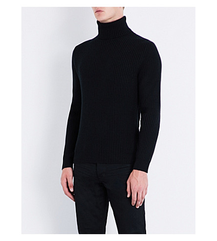 TOM FORD Turtleneck knitted wool and cashmere-blend jumper (Blue