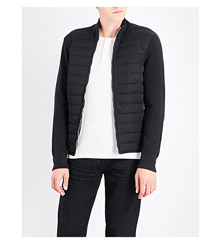 TOM FORD Quilted shell and knitted-wool jacket (Black