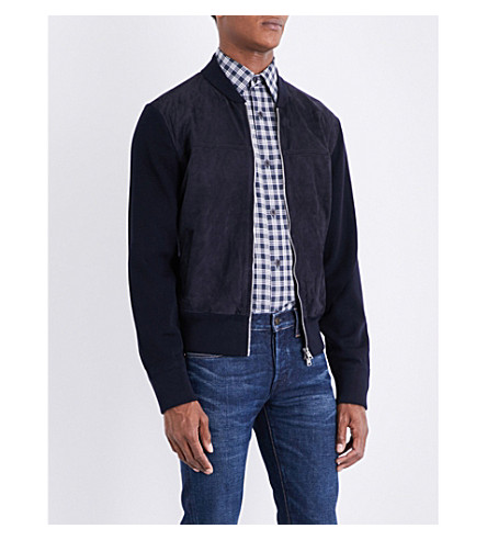 TOM FORD Suede-detailed wool bomber jacket (Navy