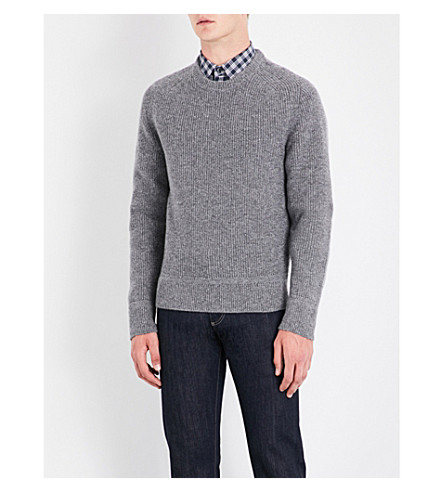 TOM FORD Crewneck wool and silk-blend jumper (Grey