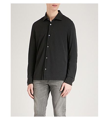 TOM FORD Silk and cotton-piqué blend shirt (Black