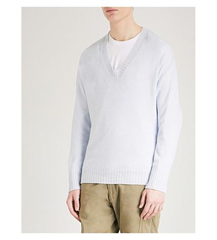 TOM FORD V-neck wool and cashmere-blend jumper (Light+blue