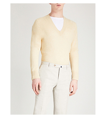 TOM FORD V-neck wool and cashmere-blend jumper (Yellow