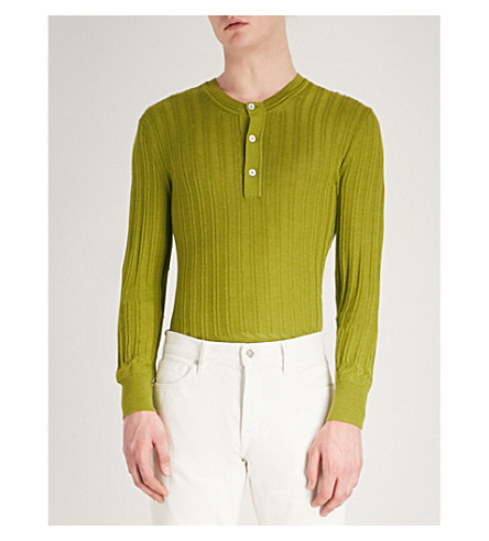TOM FORD Ribbed cashmere and silk-blend jumper (Green