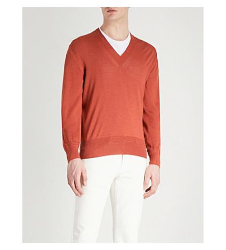 TOM FORD V-neck cashmere and silk-blend jumper (Orange