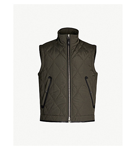 TOM FORD Quilted shell gilet (Green