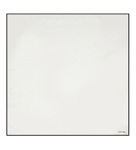 TOM FORD Rolled edges silk pocket square (White