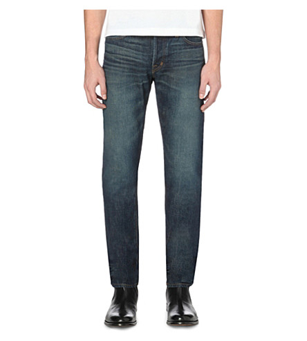 TOM FORD Slim-fit tapered selvedge jeans (Blue