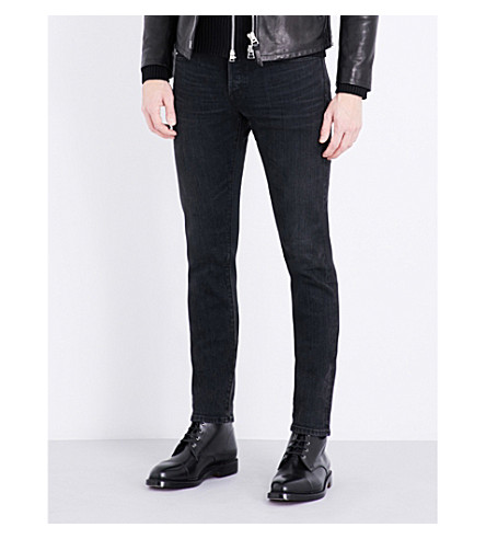 TOM FORD Mid-rise tapered jeans (Washed+black