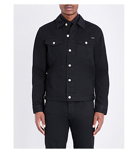 TOM FORD Buttoned-cuff branded denim jacket (Black