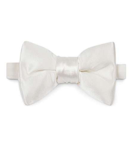TOM FORD Solid silk bow tie (White