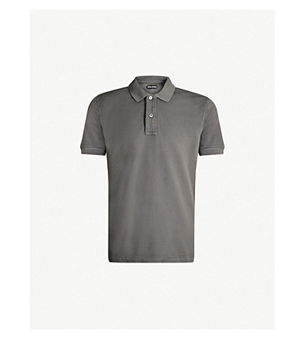TOM FORD Logo-embroidered cotton-piqué polo shirt (Grey