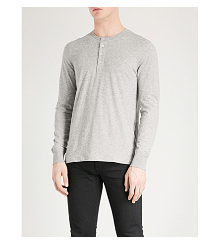 TOM FORD Marl-patterned crewneck cotton-jersey top (Grey