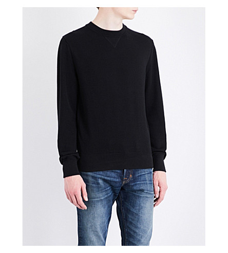 TOM FORD Waffle-knit cotton and silk-blend jumper (Black