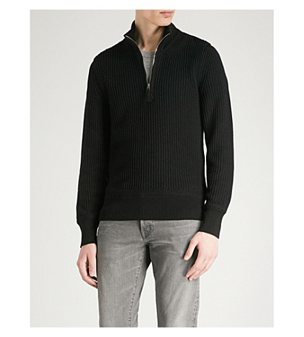 TOM FORD Half-zip cotton wool and silk-blend jumper (Black