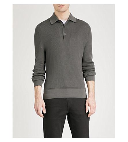 TOM FORD Gauge-knit cotton-blend polo jumper (Grey