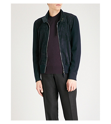 TOM FORD Funnel-neck waffle-knit wool and suede cardigan (Navy