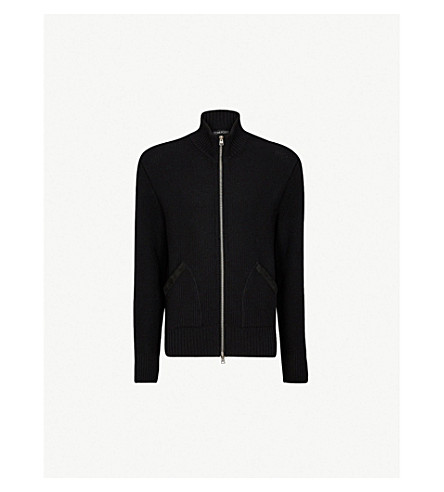 TOM FORD Zipper-up wool cardigan (Black