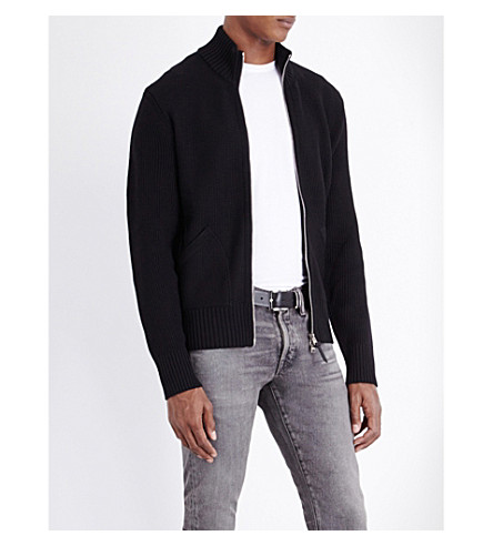 TOM FORD Zip-up wool cardigan (Black