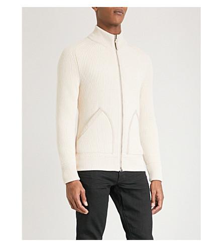 TOM FORD Suede trims cashmere cardigan (Ivory
