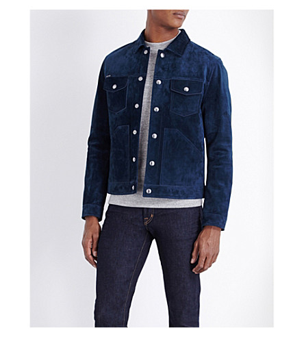 TOM FORD Collared suede jacket (Blue