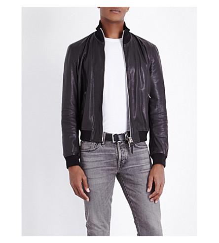 TOM FORD Funnel-neck leather jacket (Black