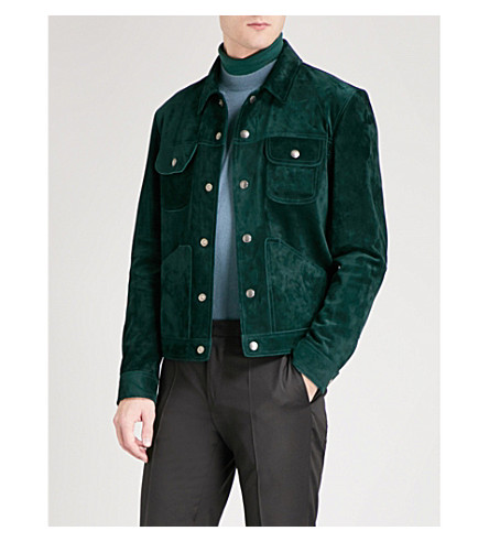 TOM FORD Collared suede jacket (Green