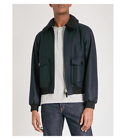 TOM FORD Shearling-collar wool-flannel flight jacket (Navy