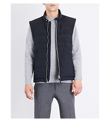 TOM FORD Quilted shell vest (Navy