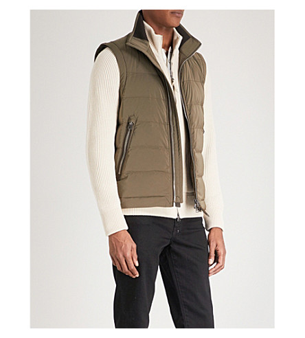 TOM FORD Stand-collar quilted gilet (Olive