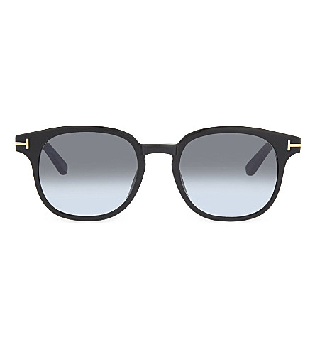 TOM FORD TF399 Frank tortoiseshell round-frame sunglasses (Black