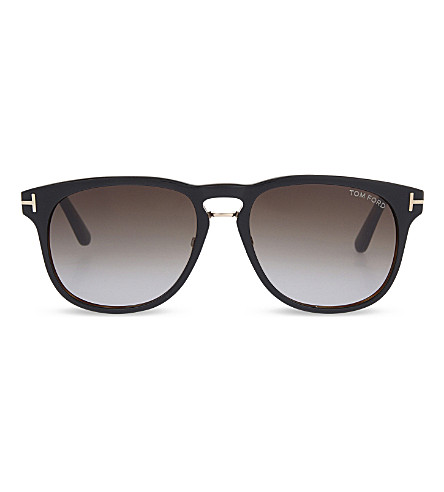TOM FORD TF346 double bridge round frame sunglasses (Black/+havana