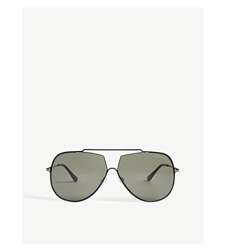 TOM FORD Chase pilot-frame sunglasses (Shiny+black+/green