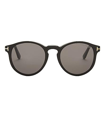 TOM FORD Tf591 Ian round-frame sunglasses (Shiny+black+/smoke