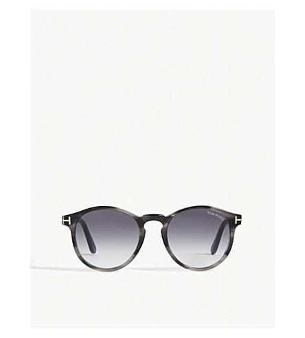 TOM FORD Tortoiseshell round frame acetate sunglasses (Grey/smoke