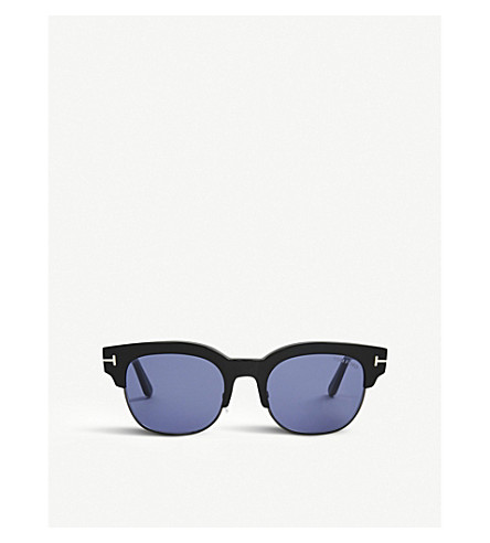 TOM FORD Tf597 Harry square-frame acetate and gold-toned sunglasses (Shiny+black/blue