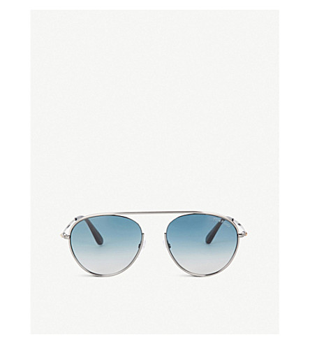 TOM FORD Aviator-frame sunglasses (Shiny+gumetal+/blue